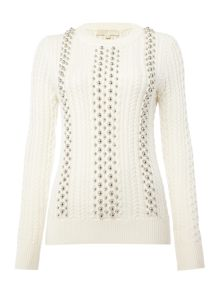 Michael Kors Long Sleeve Ball Beads Cable Sweater