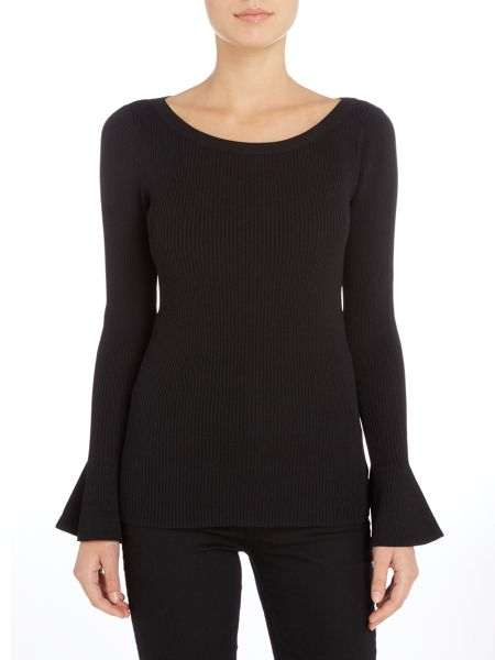 Michael Kors Long sleeve peplum sweater with bell sleeve
