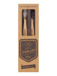 Gentlemen's Hardware 2 Pack Bamboo Natural Tooth Brushes