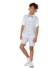 Howick Junior Boys Ticking Stripe Waistcoat and Bow Tie Set