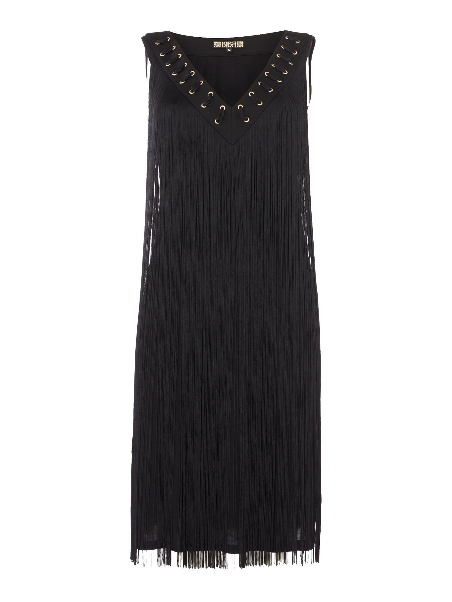 Biba Neck detail fully fringed jersey dress, Black