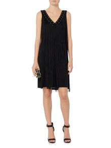 Biba Neck detail fully fringed jersey dress