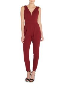 Wal-G Sleeveless Plunge Slim Leg Jumpsuit