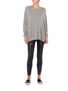 Hugo Boss Izusal boatneck oversized jumper in medium grey