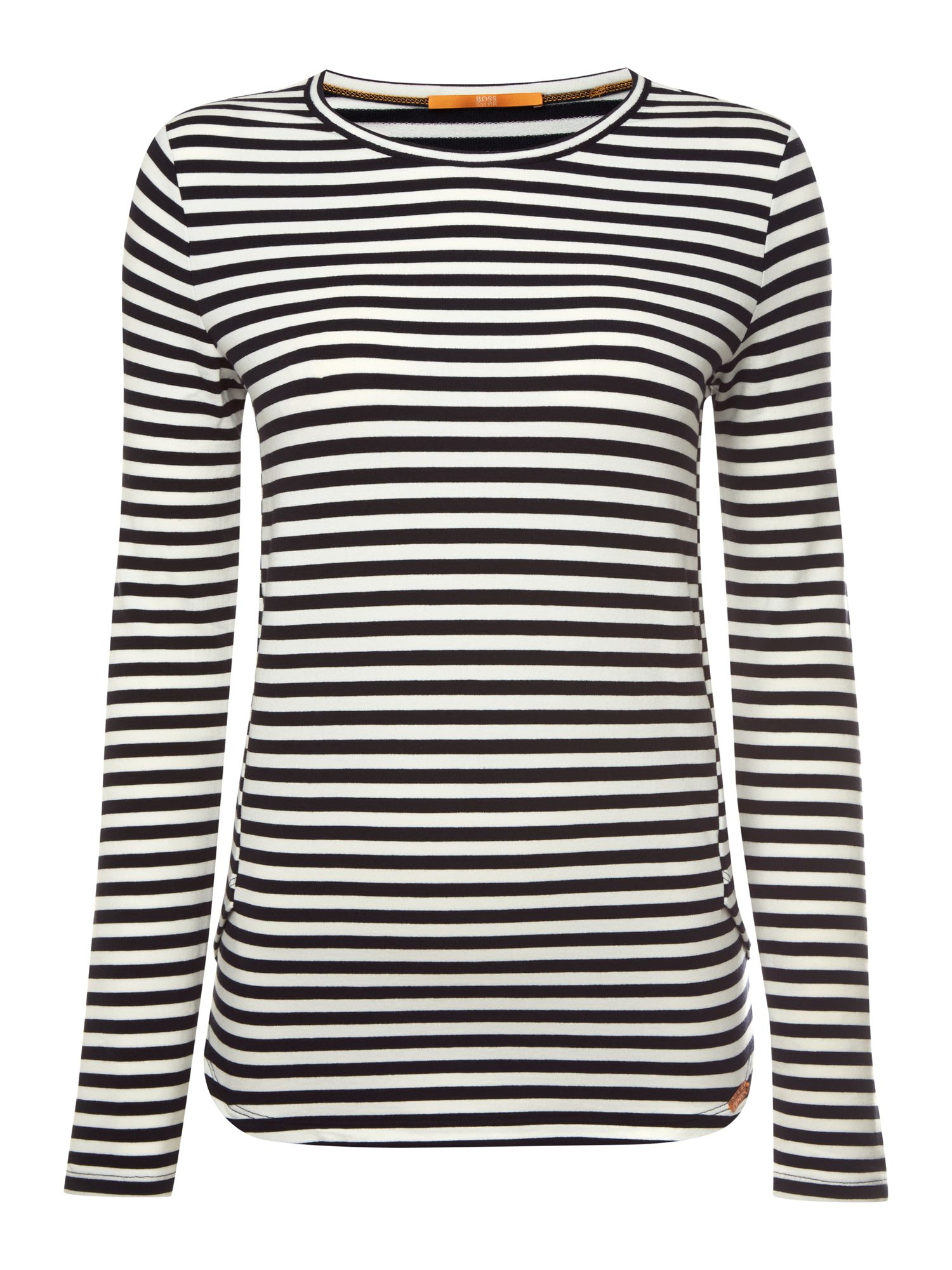 Hugo Boss Terstripe stripe jersey top in open miscellaneous, White