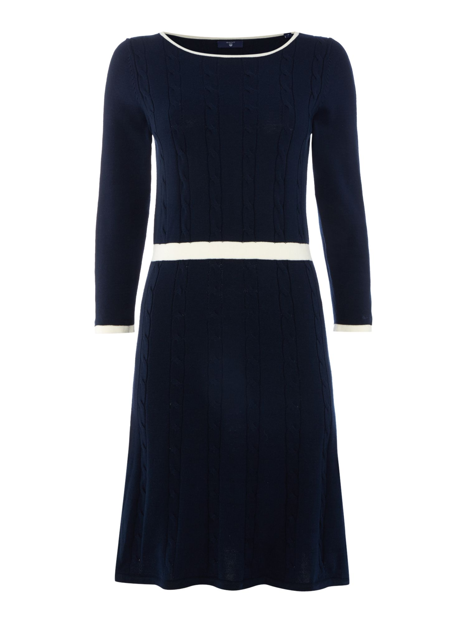 Gant Cable knit contast edging dress, Blue