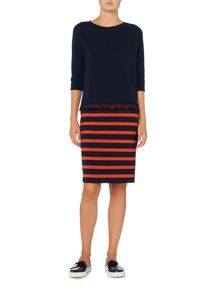 Hugo Boss Balanja stripe pencil skirt in open miscellaneous