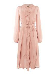 Biba Frill front belted button through dress