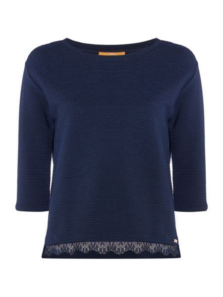 Hugo Boss Tripy crew neck sweater in dark blue