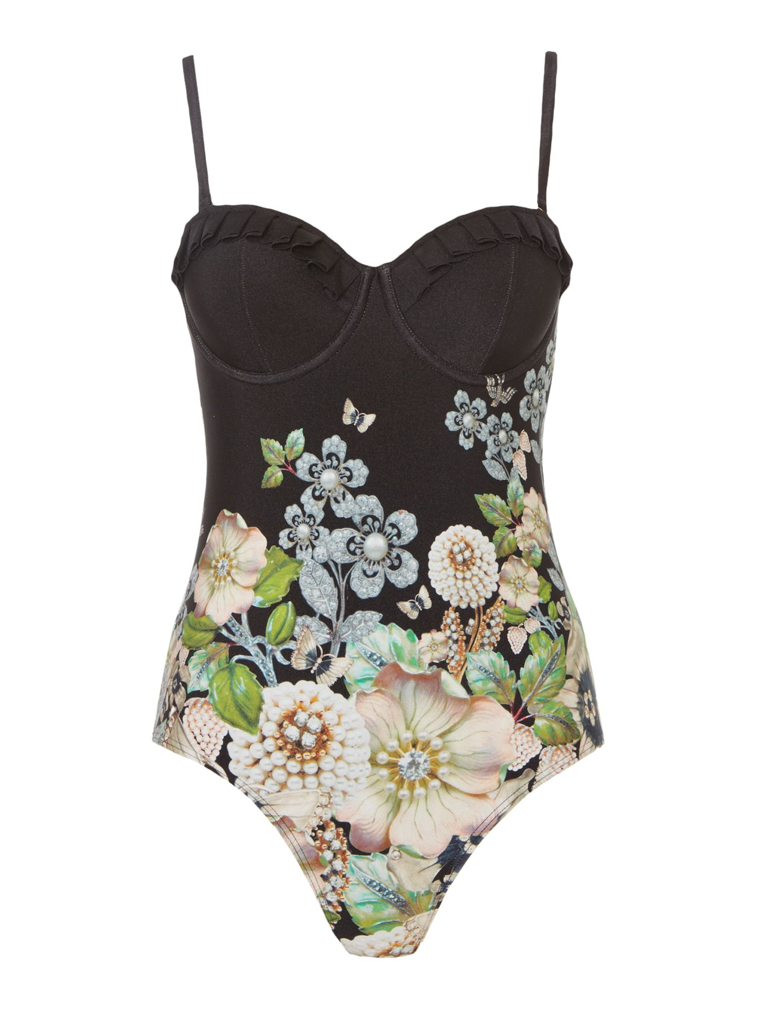 Ted Baker Gem garden cupped swimsuit, Black Multi