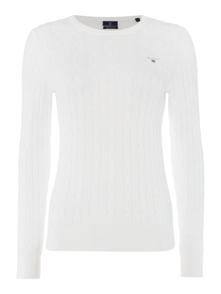 Gant Cotton crew neck cable jumper