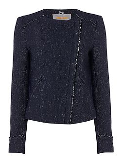 Obeiky textured collarless jacket