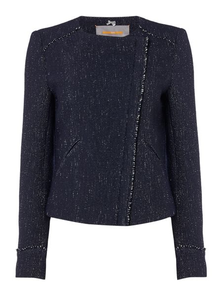 Hugo Boss Obeiky collarless jacket in open miscellaneous