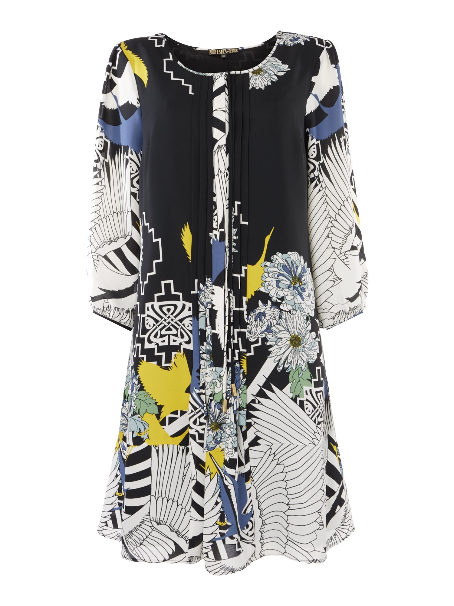 Biba Biba Printed tie neck dress, Multi-Coloured