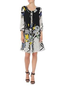Biba Printed tie neck dress
