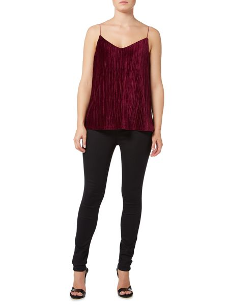 Therapy Bee Velvet Pleated Cami Top
