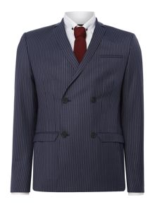 Label Lab Iggy Pinstripe Double Breasted Skinny Suit Jacket