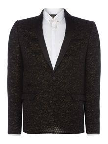 Label Lab Jeff Velvet rose printed skinny blazer