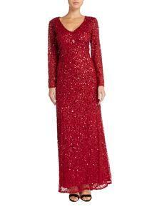 Adrianna Papell Petite long sleeve v neck sequin dress