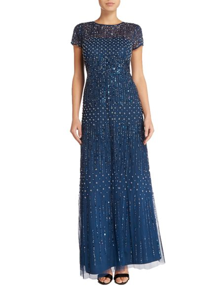 Adrianna Papell Petite sequin beaded gown