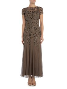 Adrianna Papell Petite short sleeved floral embellished gown