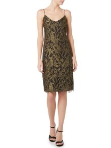 Lauren Ralph Lauren Metallic lace strap dress