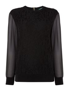 Lauren Ralph Lauren Berio lace long sleeve top