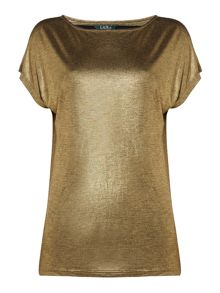 Lauren Ralph Lauren Rolatyn metallic top