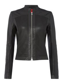 Hugo Longsleeve leather jacket with mesh pannels