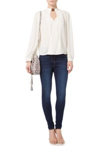 Biba Biba neck trim long sleeve blouse