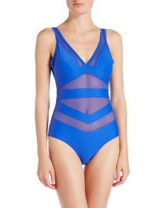 Ted Baker Illiana deep v mesh detail swimsuit