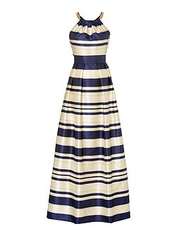 Striped gown with chain halter neck