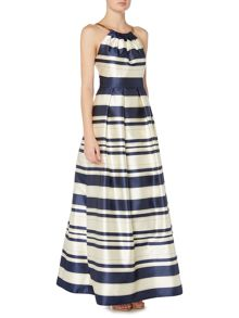 Eliza J Striped gown with chain halter neck
