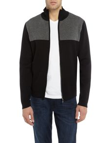 Hugo Boss Zeak zip-up textured panel cardigan