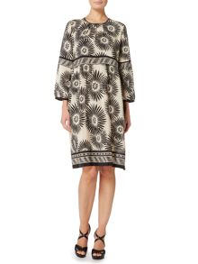 Max Mara NAVA 3/4 sleeve printed silk boho dress