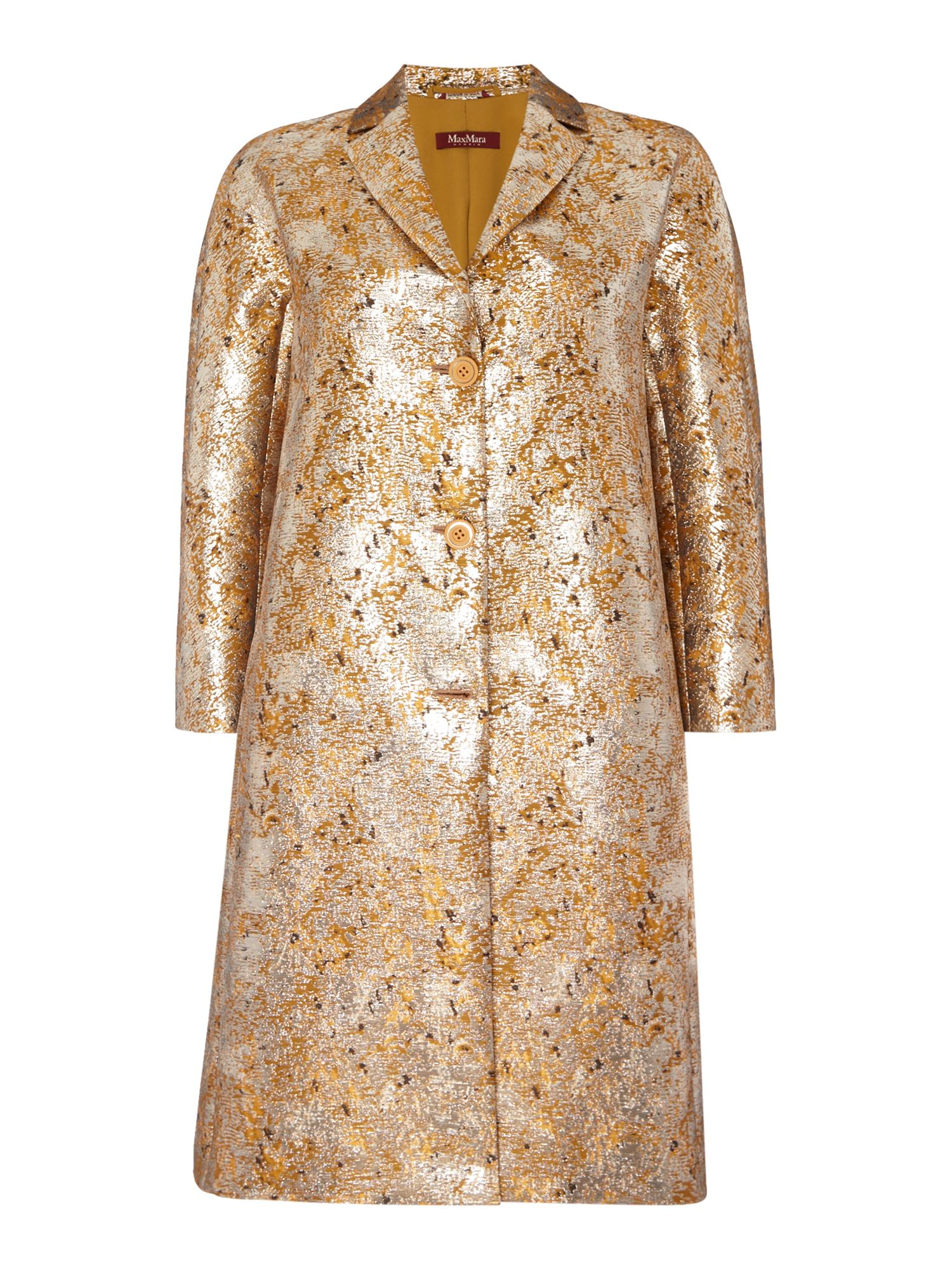 Max Mara Studio RIVALTA metalic jacquard long sleeve jacket, Gold