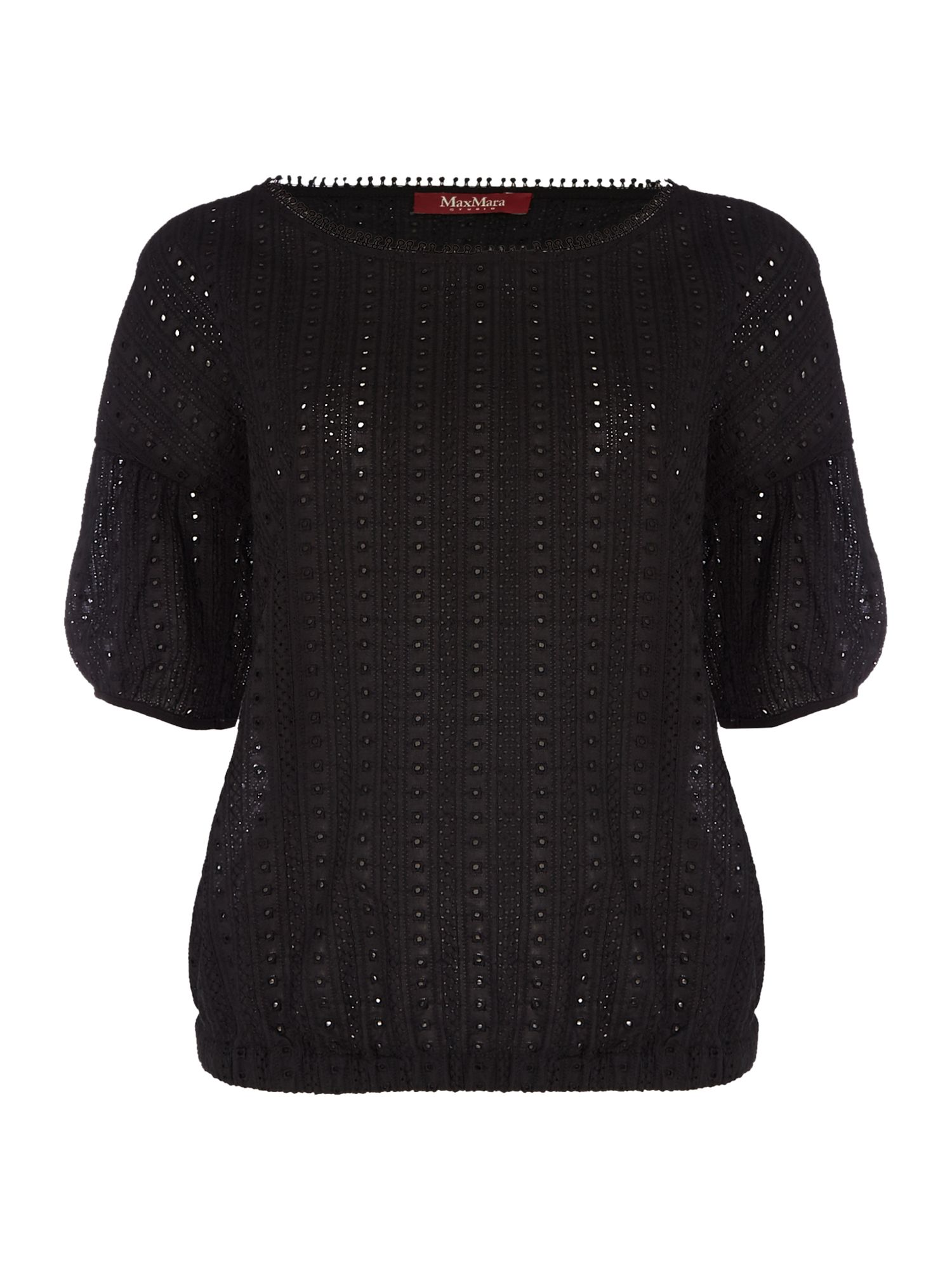 Max Mara Studio ANGRI bell sleeve brocade top, Black