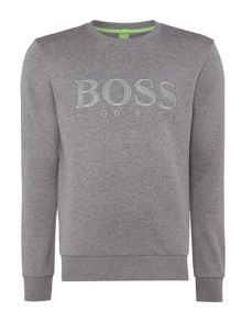 Hugo Boss Salbo textured logo crew neck sweat top