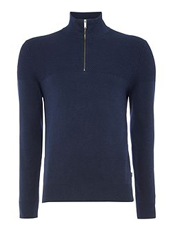 Funnel neck zip detail textured jumper