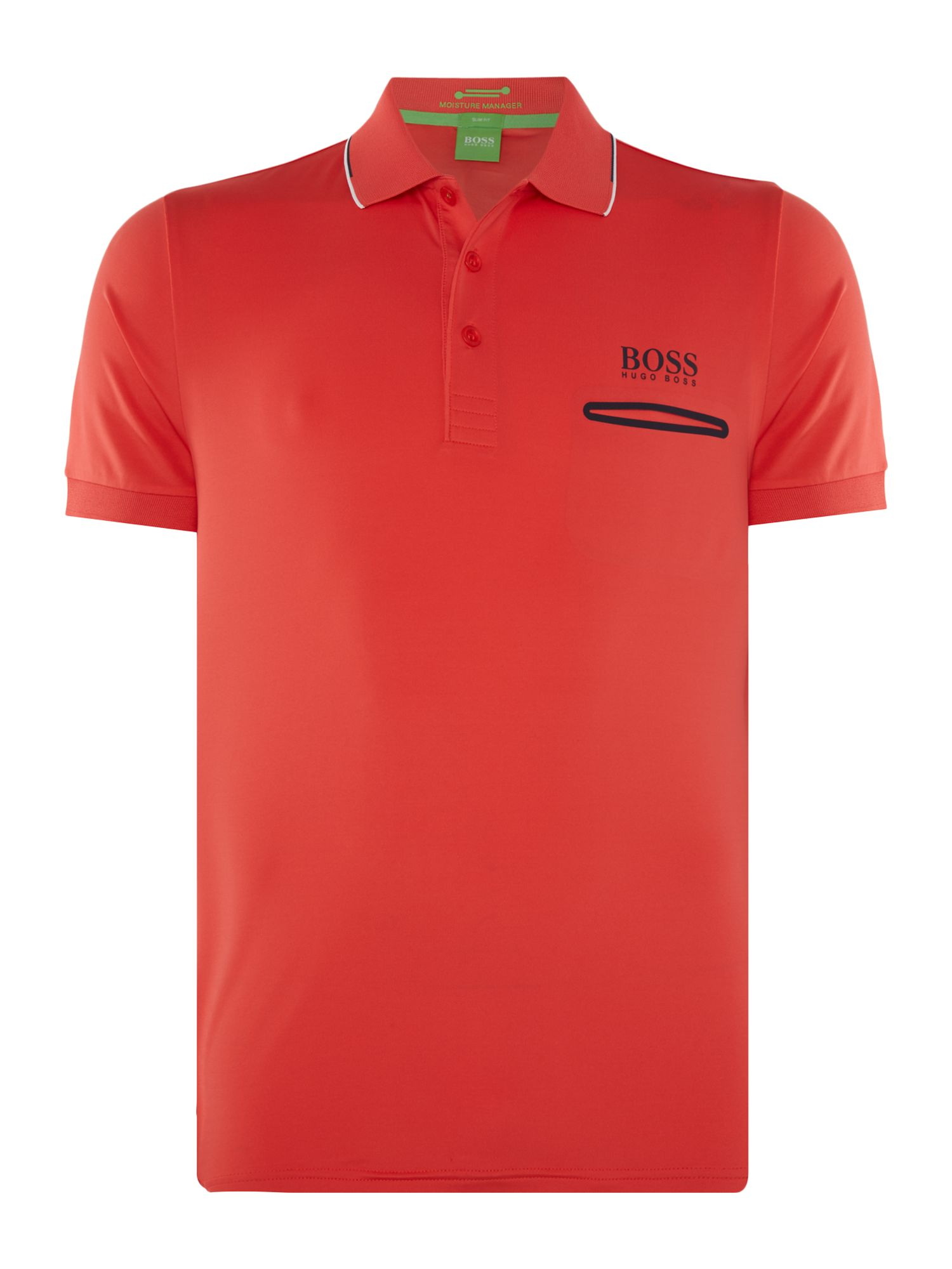 Mens Hugo Boss Golf Paule Pro concealed pocket polo shirt Coral