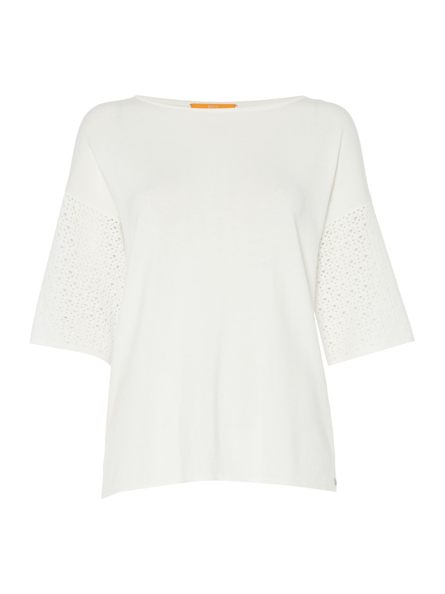 Hugo Boss Wittoria 3/4 sleeve woven knit top, White