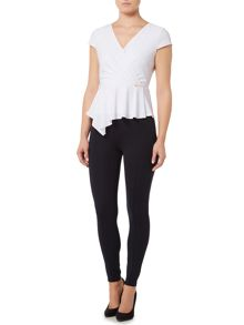 Episode Jersey peplum V neck top