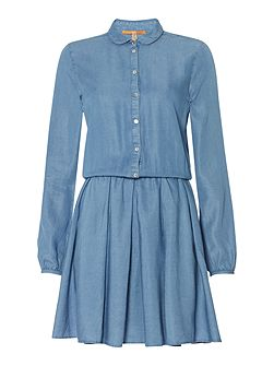 Clace_1 long sleeve collared dress in open blue