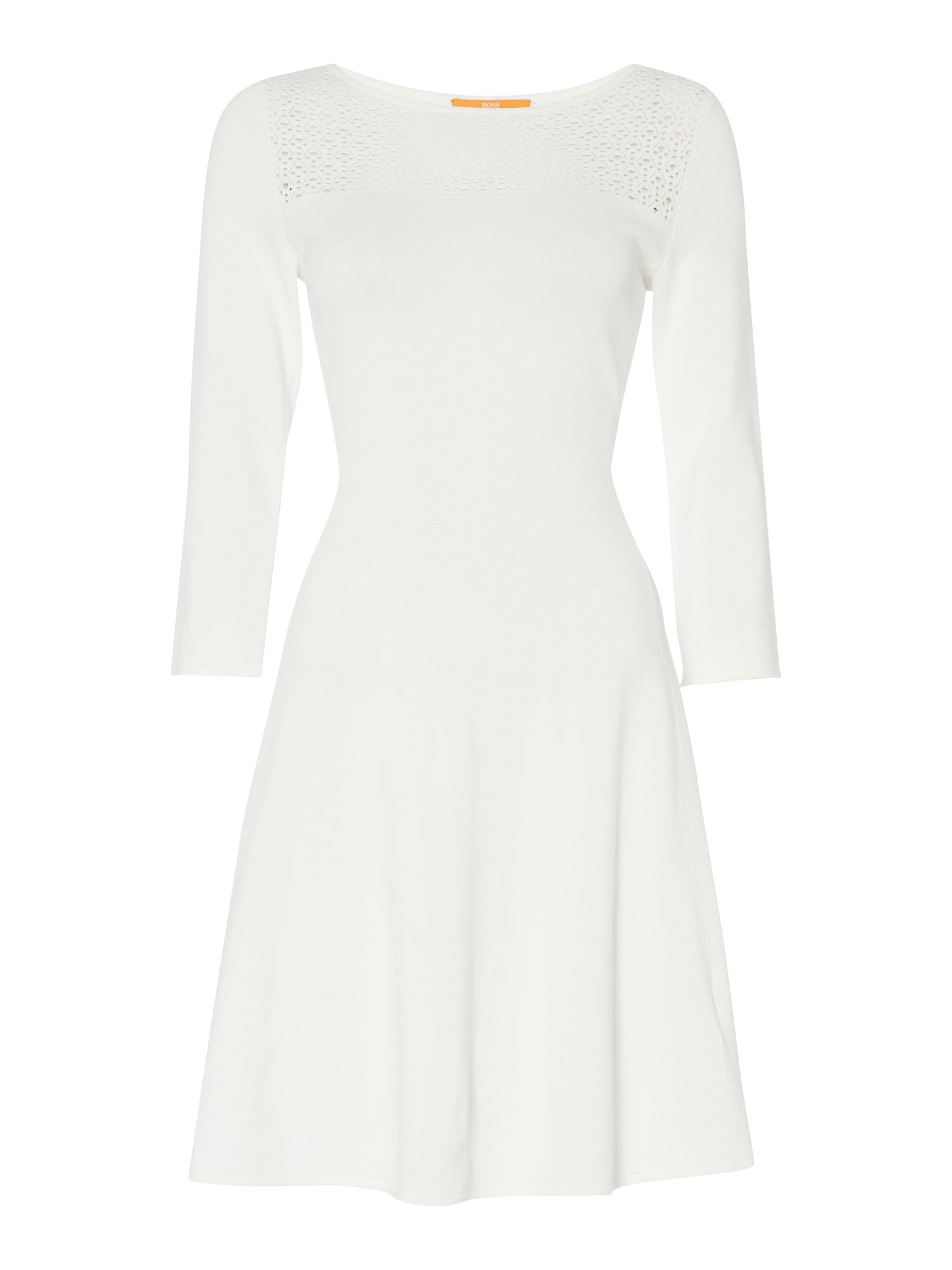 Hugo Boss Witalia fit and flare crochet dress, White