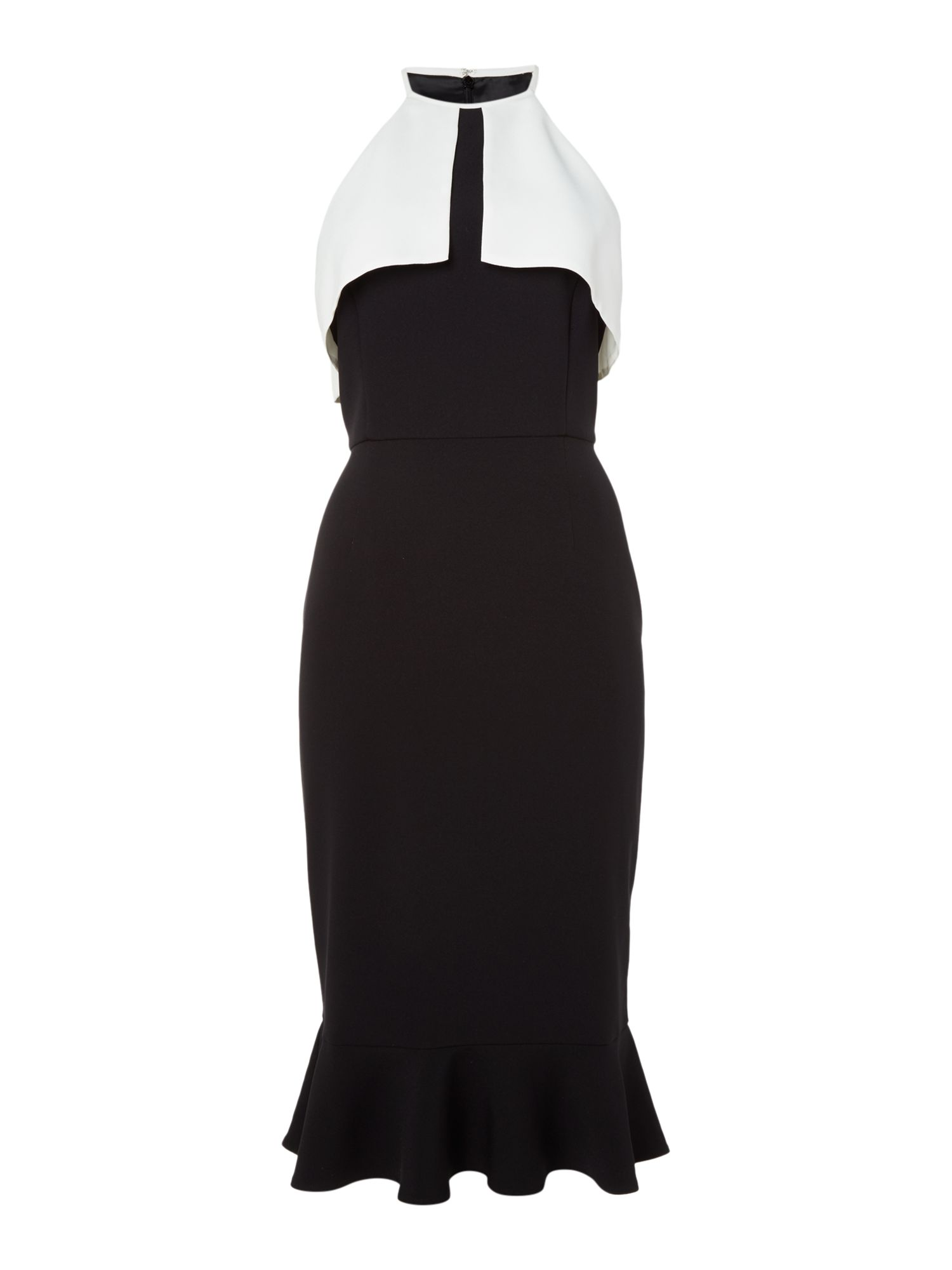 Ariella Colour block ruffle dress, Black