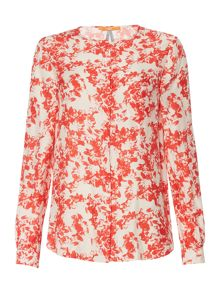 Hugo Boss Eflo long sleeve floral woven top