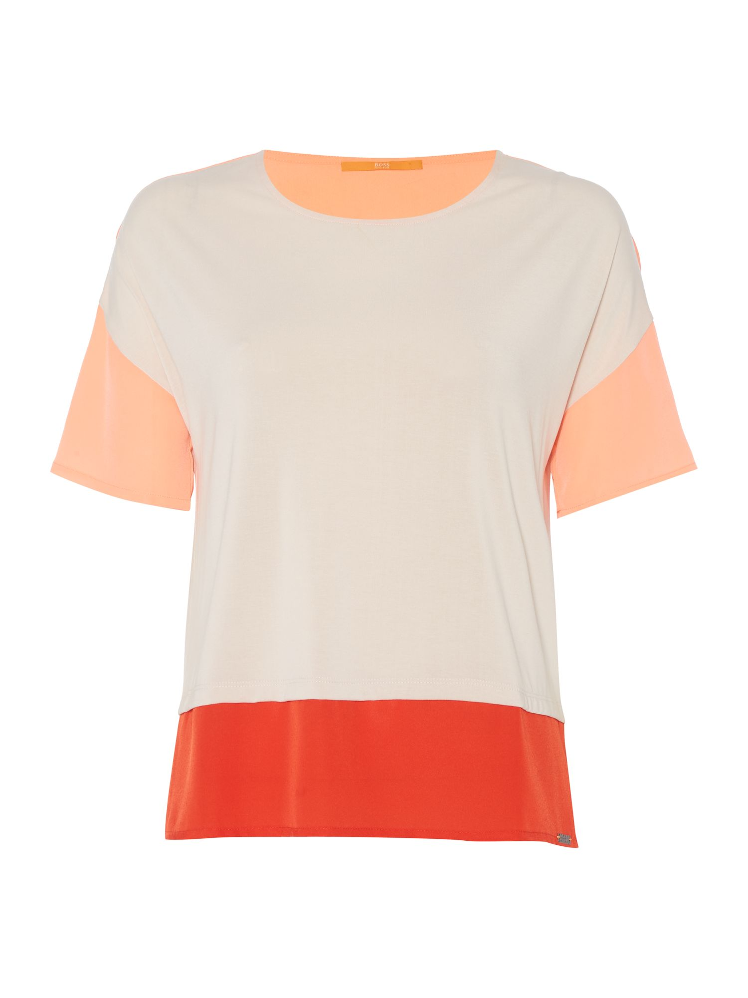 Hugo Boss Tustripe block colour tee in light pink, Pink