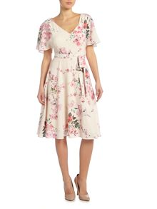 Ariella V neck tea length dress