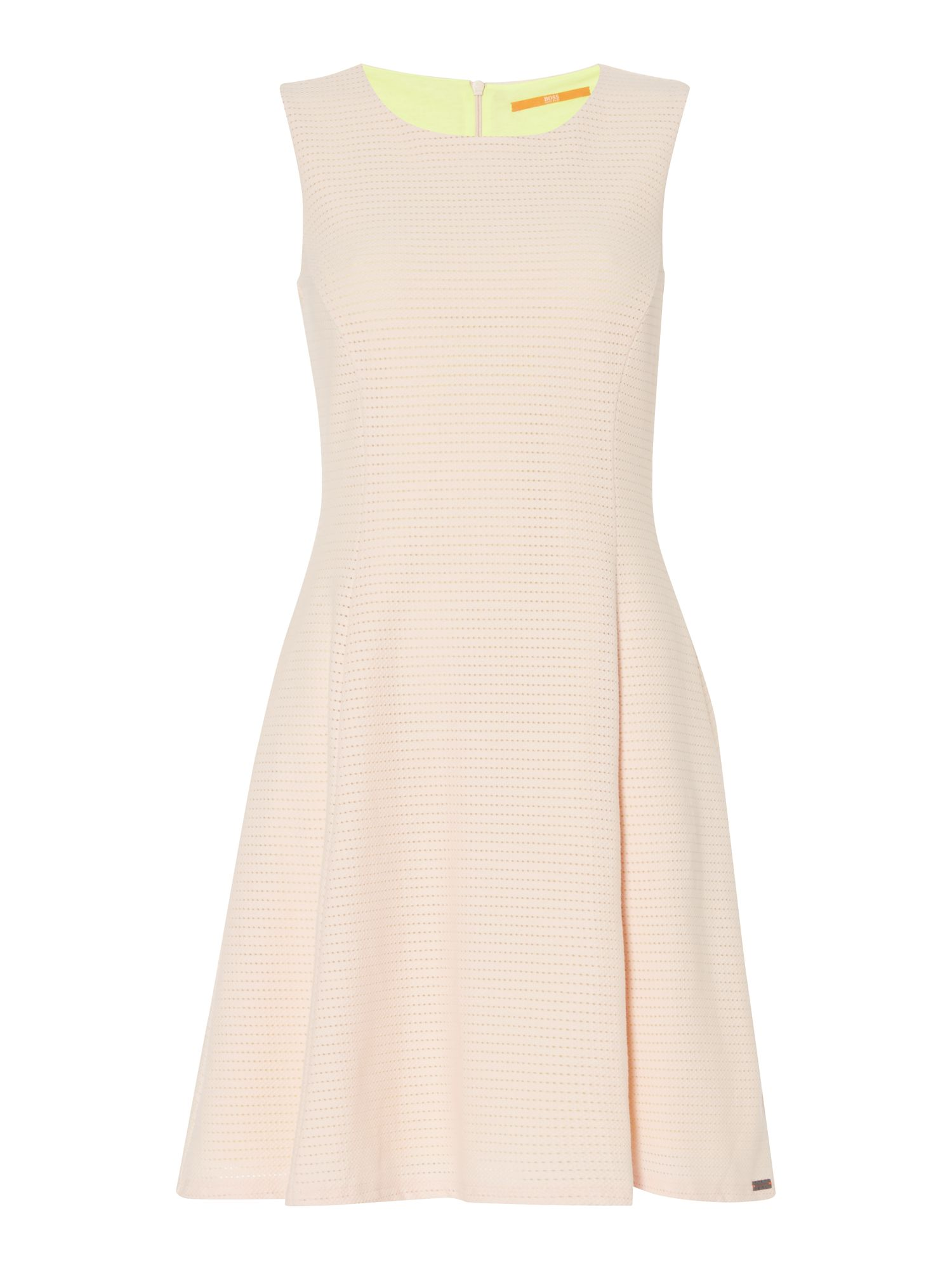 Hugo Boss Dacoci sleeveless fit and flare dress, Pink