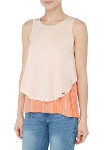 Hugo Boss Talayer sleeveless layered pleat top